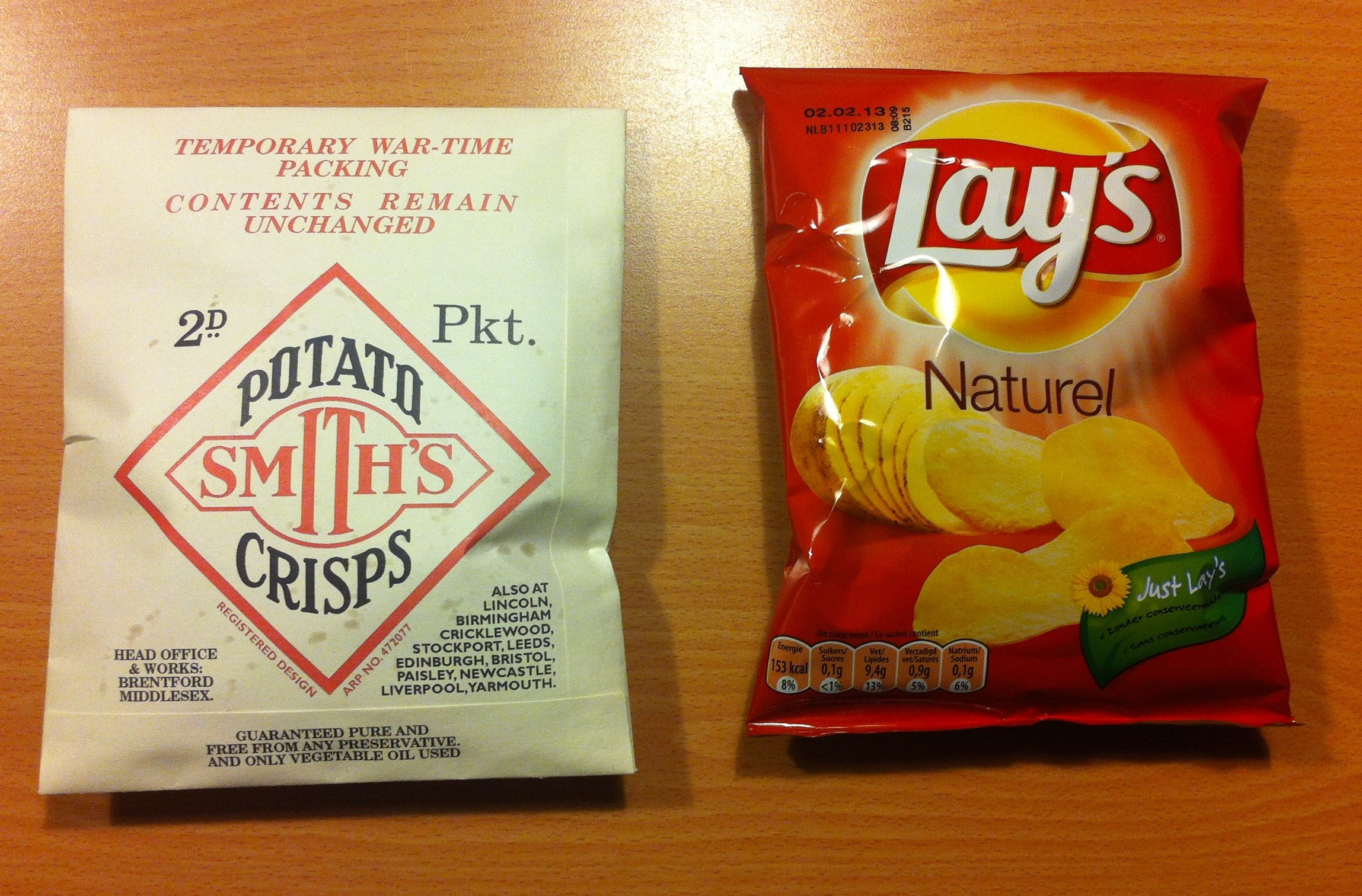 A repro Smith's Potato Crisps bag beside a new one