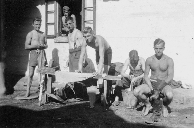 German soldiers washing